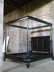 Super King Gothic Dead Black Mahogany Wood Four Poster Minimalist Canopy Bed
