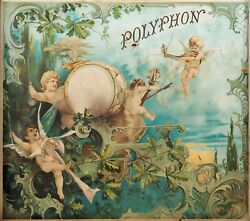 Polyphon Cover Lid Picture Image For Antique Music Box With Cherubs Angel Timbal