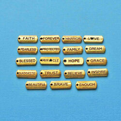 Word Charm Collection Antique Gold Tone 19 Different Tag Charms - Col350