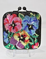 Crystallized Evening Bag Floral Black Colorful Flowers with Swarovski Crystals
