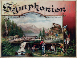 Symphonion Cover Lid Picture Image For Antique Music Box With Dwarfs And Box