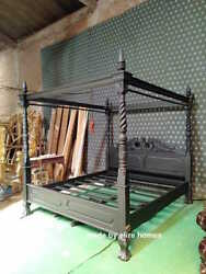 Super King Size 6and039 Matt Black Queen Anne Style Four Poster Mahogany Bed
