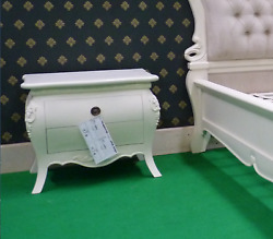 2 X Ivory Off White French Style Rococo Bedside Tables, Nightstand Cabinets