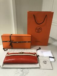 Brand New Authentic Hermes Orange Porosus Crocodile Gold Kelly Cut Clutch Purse
