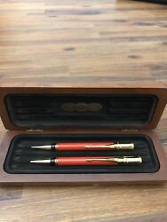 Parker Duofold Set Orange And Gold Ballpoint Pen And 0.9mm Pencil New In Box