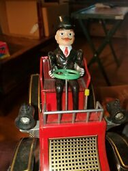 Vintage Modern Toys Battery Operated Vibrating Tin Litho Car Guc Works Cool