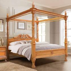 Usa King 76x80 Mahogany Queen Anne French Style Four Poster Canopy Bed