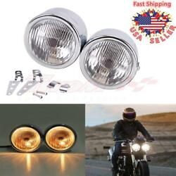 Universal Metal Chrome Dual Headlight Motorcycle For Harley Sportster Xl Dyna Us