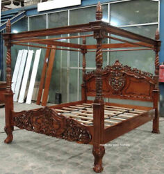 Bespoke 6and039 Super King 181x201 Mahogany Wood French Rococo Style Four Poster Bed