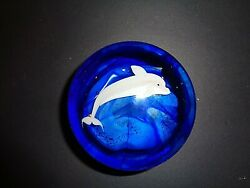 Vintage Orient And Flume Dolphin Art Glass Paperweight By Bruce Sillars Rare