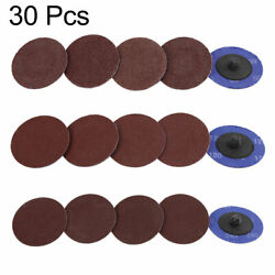 30 Pcs 2and039and039 Roll Lock Discs Pads Sanding Disks Abrasives 60 120 240 Grit