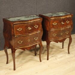 Bedside tables night stands furniture Italian inlaid wood marble antique style