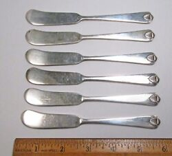 Vintage 1941 6pc International Usa Colonial Shell Sterling Silver Butter Knives