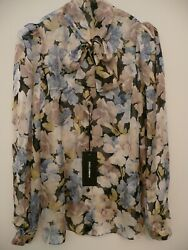 BNWT New DOLCE & GABBANA SIZE 38 6 Silk Pussy Bow Blouse Shirt FLORAL Floaty Top