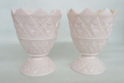 Napco 2255 Pink Milk Glass Sawtooth Pair Of Footed Compote Candy Dishes 1436b