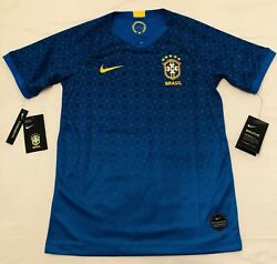 Nike Brazil Soccer Jersey Football Blue Brasil New With Tags Youth Large