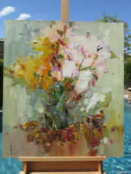 Impressionism Oil Canvas Summer Original Painting Russian Art Signed Listed Rare