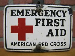Old Porcelain American Red Cross Emergency First Aid Sign Plate Topper Ad