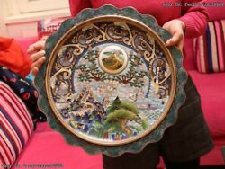 Chinese Royal Palace Copper Cloisonne Enamel Great Wall Design Dish Plate Plates