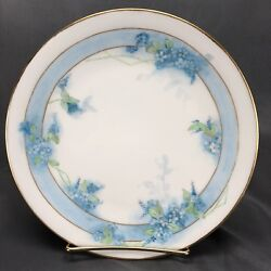 La Seynie Limoges Hand Painted Signed Blue Wildflowers And Gold Dessert Plate 1910