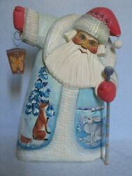 Beautiful 12andrdquo Hand Painted Carved Wood Santa Claus Russian Artist Signed