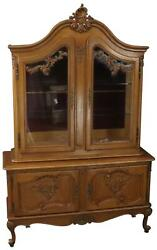 China Cabinet Louis Xv Rococo Vintage French 1950 Oak Wood Glass Doors