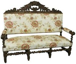 Settee Renaissance Hunting French Antique 1880 Carved Oak Floral Uph