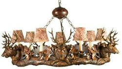 CHANDELIER 7 SMALL STAG HEAD DEER 7-LIGHT FEATHER PATTERN SHADES CAST RE