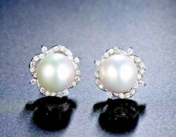 1.00ct Natural Round Diamond 14k Solid White Gold Pearl Stud Screw Back Earring