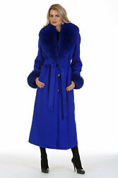Womens Real Fox Fur Trimmed Long Cashmere Coat Royal Blue