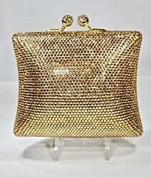 Square Shape Crystallized Evening Bag Gold Clutch Purse with Swarovski Crystal $199.00
