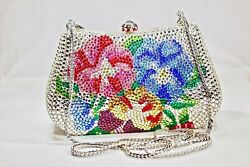 Floral Crystallized Evening Bag Red Blue Colors Clutch Purse wSwarovski Crystal