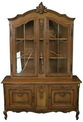 China Cabinet Louis Xv Vintage French Rococo 1950 Oak Wood Glass Doors