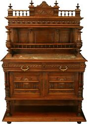 Antique 1900 French Server/sideboard Henry Ii Marble/walnut Red/grey Sw