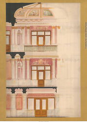 Signed Odin Oyen Montana Courthouse Cutaway Design Sketch (pencilwatercolor)