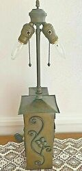Antique Arts And Crafts Hammered Brass And Iron Lamp