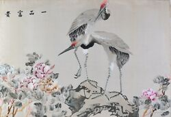 Antique Japanese Silk Embrodiery Pair Of Cranes 18th Century