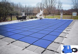 Gli Valuex Blue Solid Swimming Pool Winter Safety Cover W/ Cover Pump And Pavers