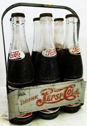 Pepsi-cola Six Pack Aluminum Bottle Carrier With Bottles