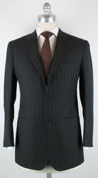 New 6000 Kiton Charcoal Gray Striped 100 Wool Suit 38/48