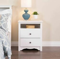 White Finish Wooden Nightstand Bedside Table 2 Drawer End Side Storage Bedroom
