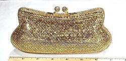 Fully Crystallized Evening Bag Clutch Gold Color Purse with Swarovski Crystals $199.00