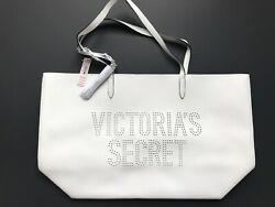 VICTORIA'S SECRET White Tote Silver Lining Laser Cut Faux Leather NWT