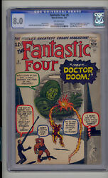 Fantastic Four #5 CGC 8.0 VF Unrestored Marvel 1st Doctor Doom OW Pages