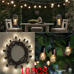 10Pcs 48FT LED Outdoor Waterproof Commercial Grade Patio String Lights Bulbs