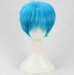 For Cosplay Acca 13 Territory Inspection Dept Nino Short Blue Hair Wig + Wig Cap