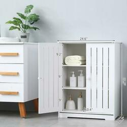 Storage Cabinet Double Door Shelf Organizer Tall Bookcase Pantry Cupboard Closet