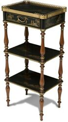Scarborough House Chinoiserie Etagere 3tier Black Lacquer Brass Accent