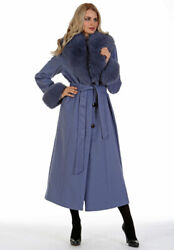 Womens Full Length Cashmere Wrap Coat Real Fox Fur Collar And Cuffs Lavender Blue