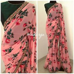 Pink Floral Printed Bollywood Saree Party Wear Ethnic Wedding Designer Sari